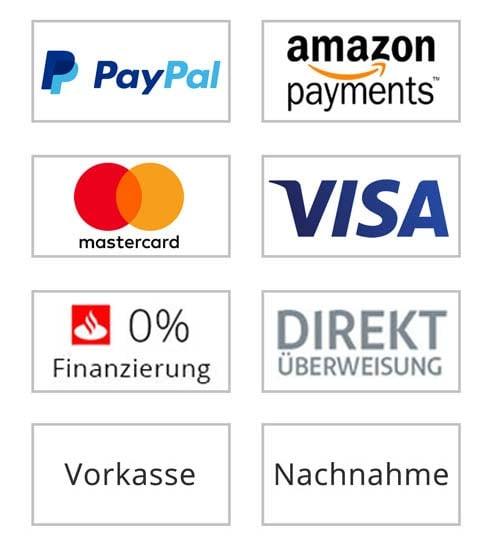 So können Sie bei uns zahlen: PayPal, Amazon Payments, Mastercard, Visa, 0% Finanzierung, Direktüberweisung, Vorkasse und Nachnahme