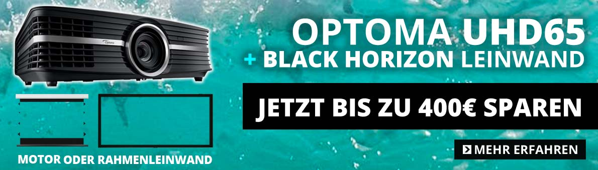 Optoma UHD65 Bundle mit Black Horizon Leinwand