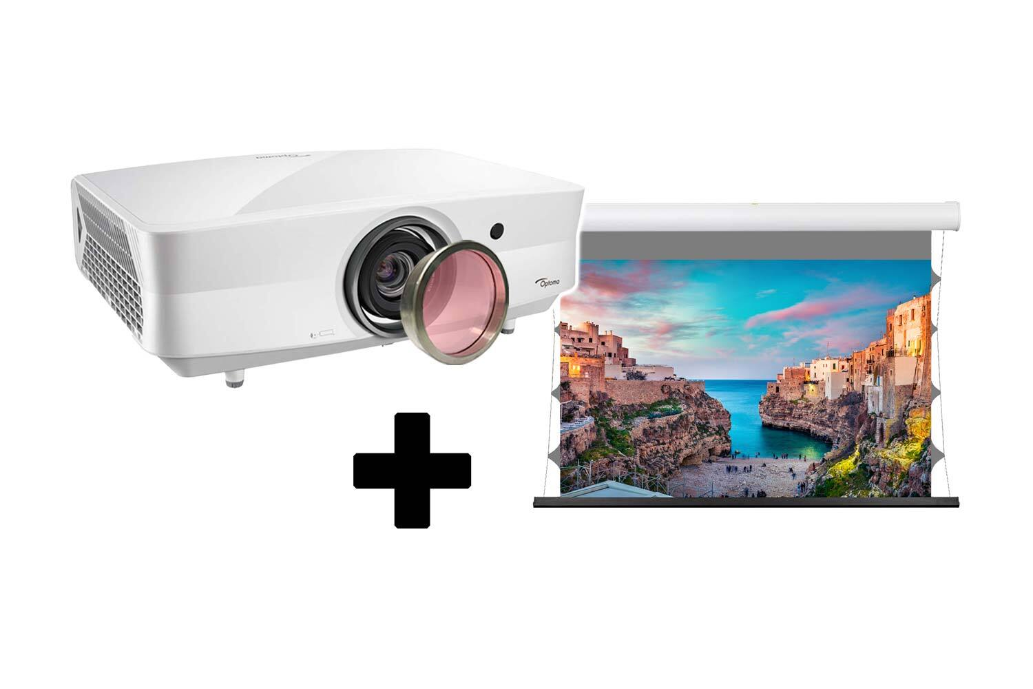 Bundle: Optoma UHZ4000 LPE - 4K Beamer + Black Horizon EdgeFree Tension Kontrastleinwand 280cm x 158cm