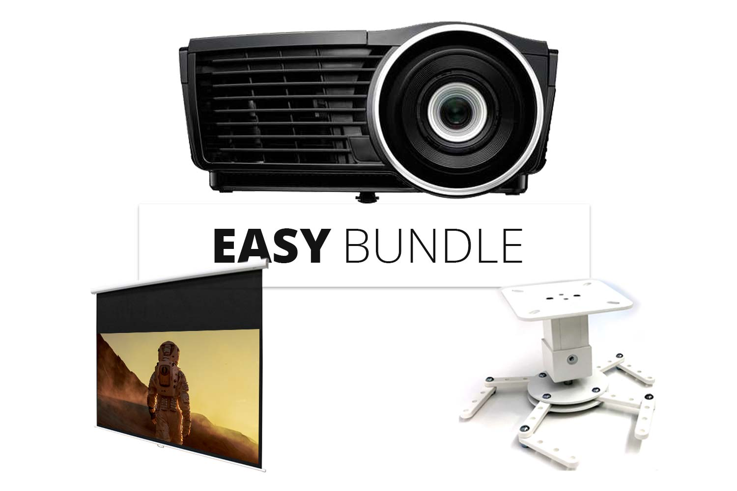 EASY BUNDLE - BEAMER + LEINWAND + HALTERUNG