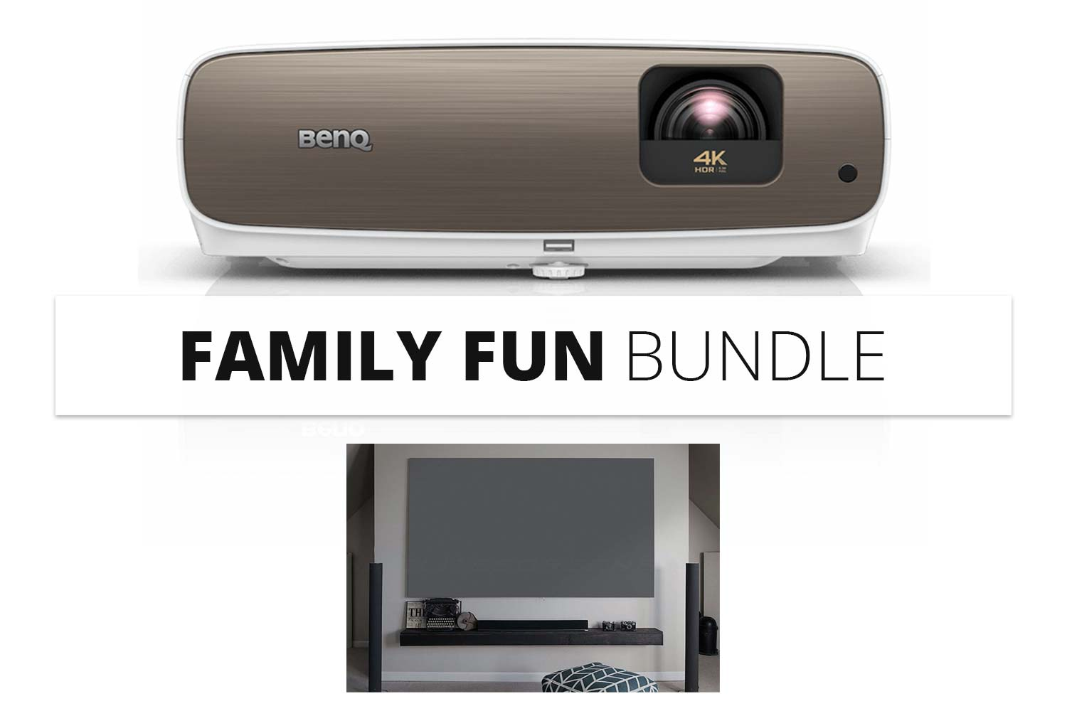 Bundle: BenQ W2700 Beamer + Elite Screens Daywalker AEON Leinwand