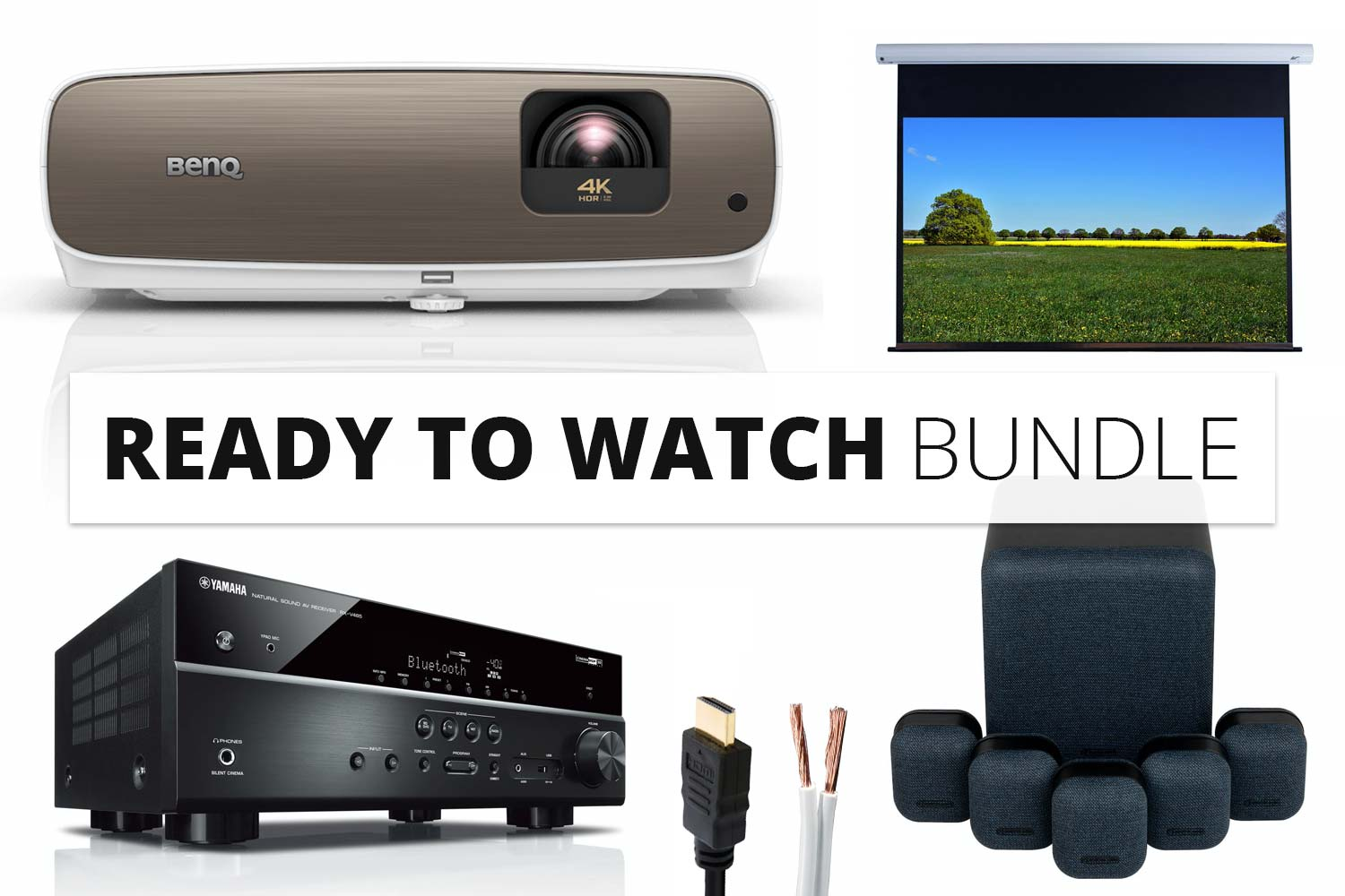 Bundle: BenQ W2700 Beamer + Elite Screens Saker Leiwand + Monitor Audio MASS Lautsprecher + Yamaha RX-V485 AV-Receiver + Kabel