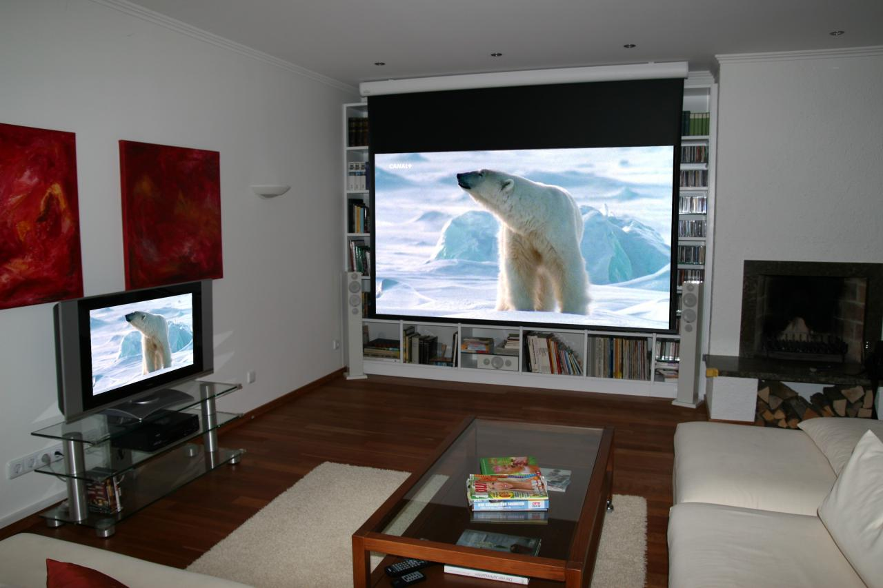 Wohnzimmer bilder leinwand  Beamer oder Fernseher ... oder beides?